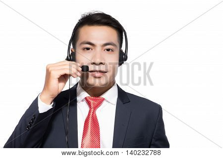 Customer service representative wearing a headset on white background