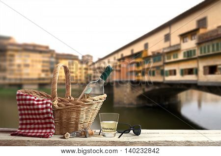 Picnic in Front of the famous Ponte Vecchio in Florence