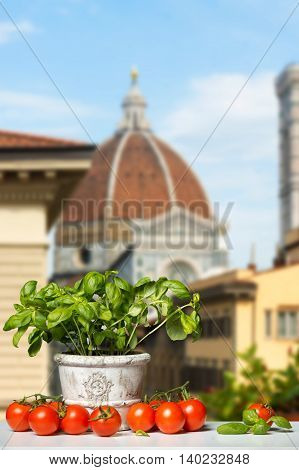 fresh Tomatoes and Basil before the Duomo in Florence