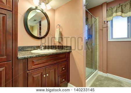 House Interior. Bathroom With Shower And Cabinet With Mirror.