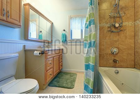 Sweet Bathroom Interior In Soft Blue And Green Tones