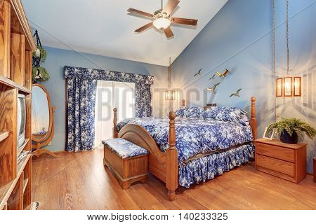 Adorable Wooden Bedroom Interior In Marine Style.