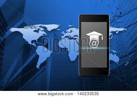 E-learning icon on modern smart phone screen over map and city tower background Study online concept Elements of this image furnished by NASA