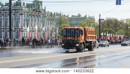 St. Petersburg, Russia - 9 May, Watering-washing machines on the roads, 9 May, 2016. Celebration day of victory in the center of St. Petersburg.