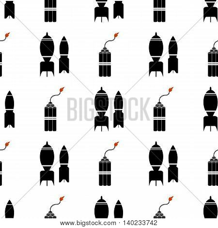 Bomb Silhouettes Seamless Pattern. Military Weapon Background