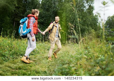 Tourists in forest