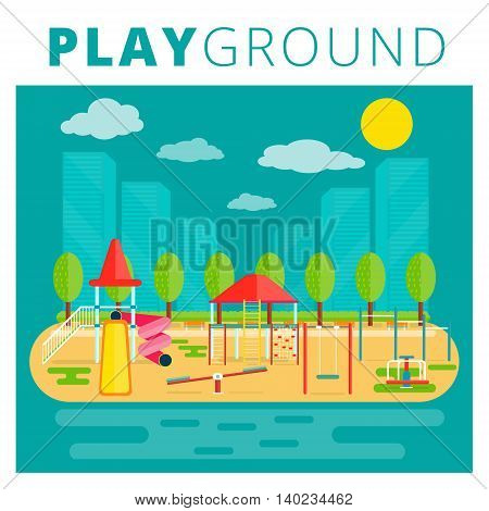 Playground for kids vector design. Nursery or children playfield and recreation park illustration