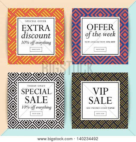 Set of social media banner design. Trendy geometric vector ad sale and clearance backgrounds