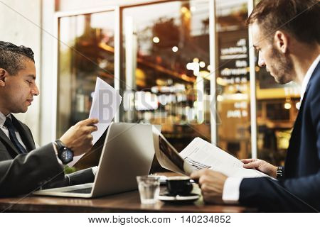 Businessmen Working Technology Paper Concept