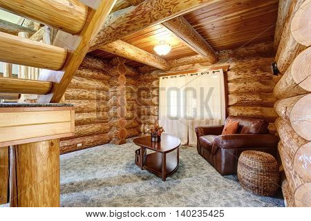 Large Log Cabin House Interior - Cozy Sitting Room