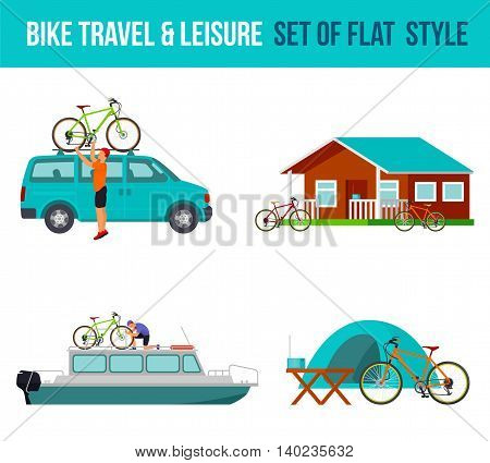 Bicycle travel and leisure. River boat, minivan, camping. Vector flat Illustration. Web graphics, banners, advertisements, brochures, business templates Isolated on a white background