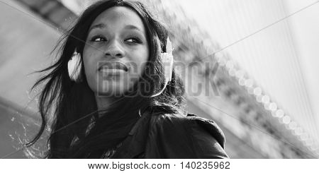 Woman Listening Music Earphones Happiness Concept