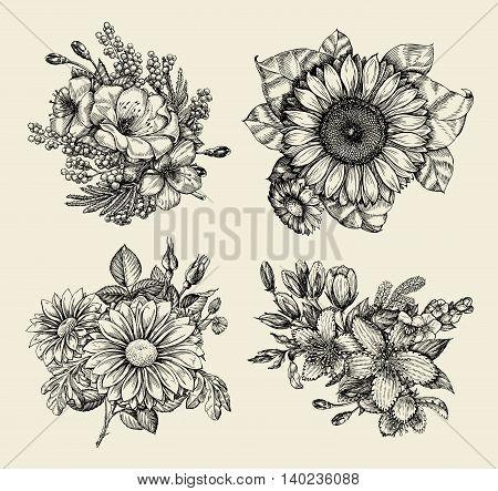 Flowers. Hand-drawn sketch flower, floral pattern. Vector illustration