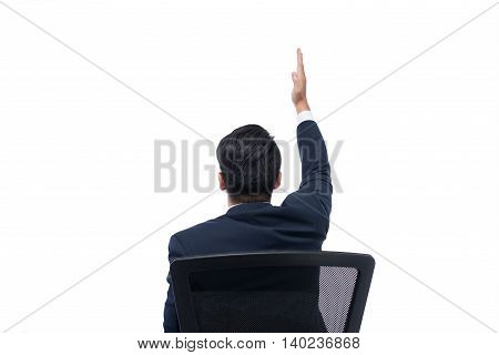 Successful excited Business man young businesspeople smile raised hands arms Isolated over white