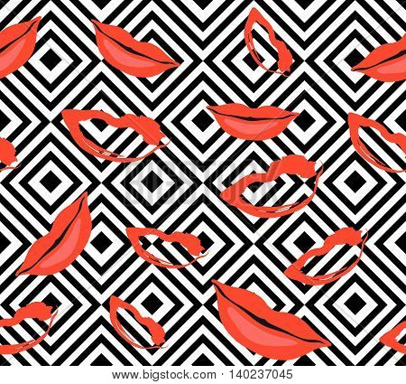 Seamless luxury hand-drawn pattern. Repeating print of vector painted glamorous red lips and kisses on black geometric squares. Trendy layout