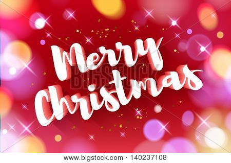 Merry Christmas greeting text colorful vector illustration. Vintage classic 3D letters calligraphy poster card banner design. New year background with golden glow stars bokeh.