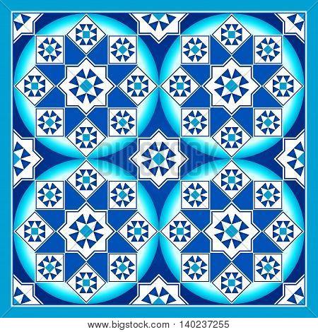 Sapphire Blue Arabesque Mosaic Pattern Background Tile