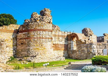 Ruins of the ancient fortress wall around the town of Nesebar in Bulgaria