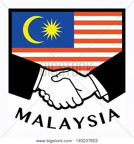 Malaysia flag and business handshake, vector illustration