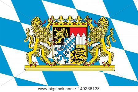 Flag of Free State of Bavaria - the land in the south and southeast of the Federal Republic of Germany.