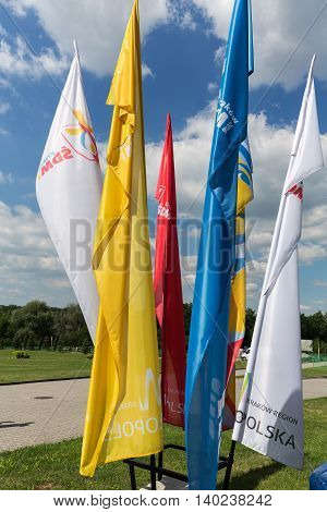 CRACOW POLAND - JULY 22 2016: Flags of World Youth Day 2016 in the Sanctuary of Divine Mercy in Lagiewniki. Cracow. Poland