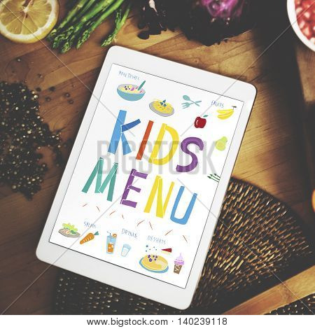 Kids Menu Cuisine Dishes Meal Concept