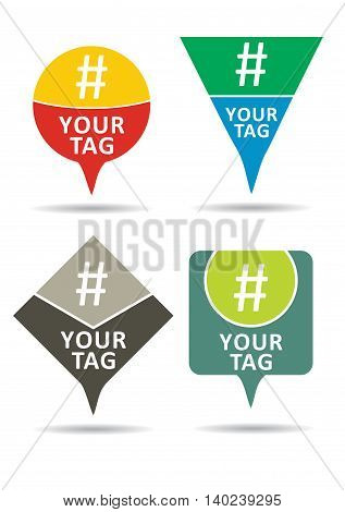 Hashtag set communication sign. Abstract illustration for your design.