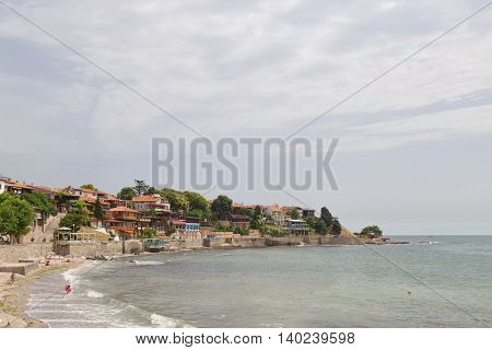 Nessebar, Bulgaria, Juny 18, 2016: Nessebar Promenade With Cozy Cafes And Small Beaches