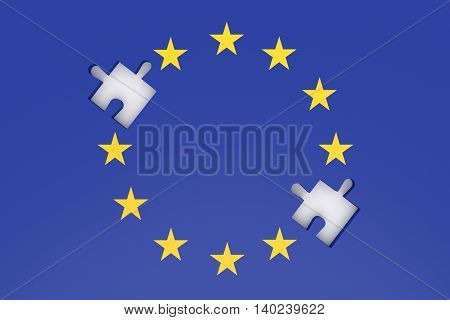 EU crisis: missing puzzle pieces in EU flag 3d illustration