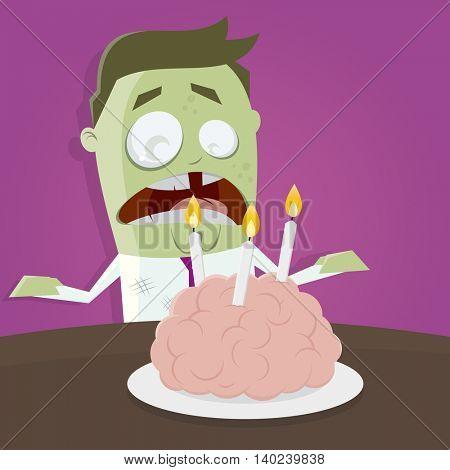 zombie celebrating his birthday with a brain cake