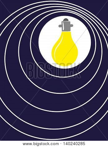 A yellow light bulb illuminates a blue background with concentric circles of white light radiating out as a metaphor for inspiration and ideas