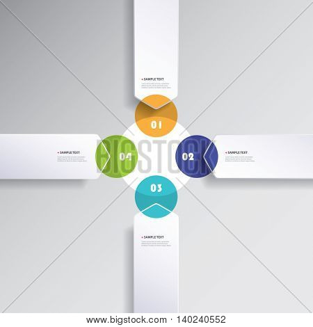 Colorful Minimal Infographics Creative Design, Presentation Template - Rounded Arrows