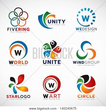 Circle ring and flower logo for business vector set design