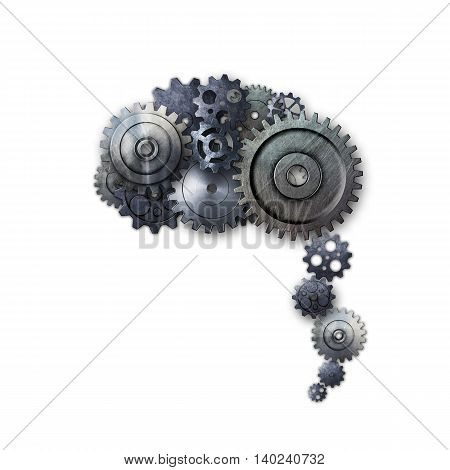 metal gear on white background look like a human brain. material design. 3d illustration.