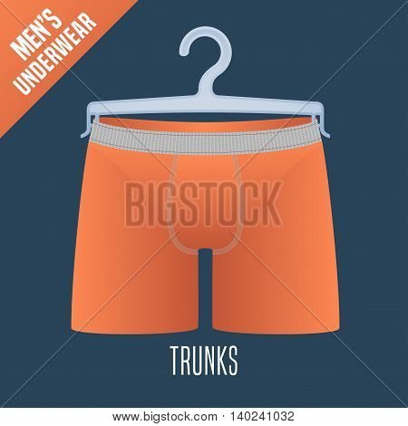 Men's underwear vector illustration. Men trunks boxers shorts underwear model. Male pants apparel detail design element on hanger