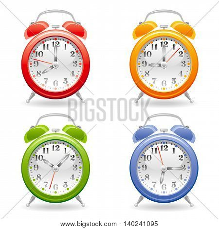 Vector illustration of alarm clock icon set in red, yellow, green, blue colors on white background, abstract vintage design template. Different time on dial.