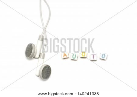 White Earbuds With Alphabet Audio