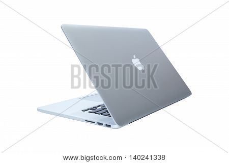 Lviv Ukraine - July 19 2016: MacBook laptop developed by Apple Inc. isolated on white background. Illustrative editorial