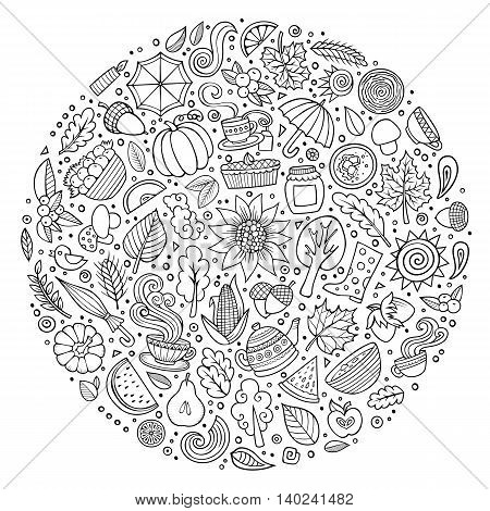Line art vector hand drawn doodle cartoon set of Autumn objects, symbols and items. Round composition