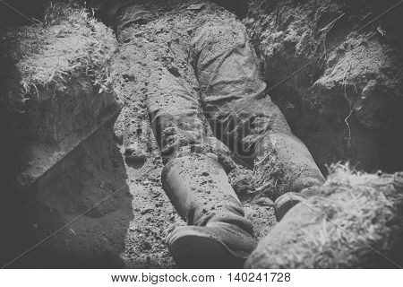 Conceptual Image Of Violence And Crime, Dead Body, Black And White