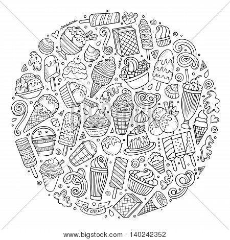 Line art sketchy vector hand drawn set of Ice Cream cartoon doodle objects, symbols and items. Round composition