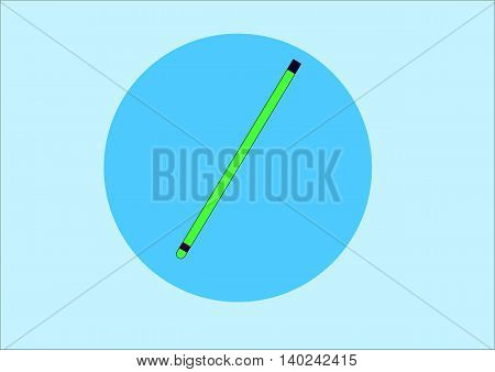 illustration depicting a green pencil on a blue background