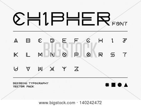 Vector of abstract stylized font and alphabet