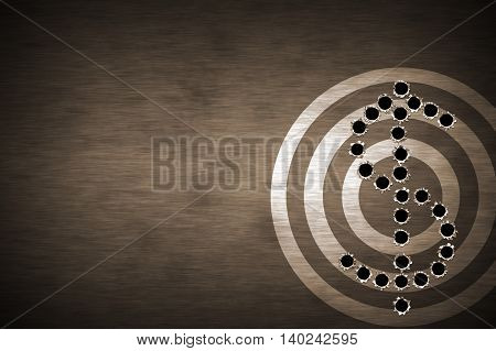 bullet hole on target. metal background. concept design for business theme design. 3d illustration.