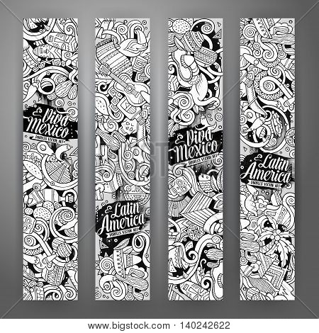 Cartoon cute line art vector hand drawn doodles Latin American corporate identity. 4 vertical banners sketchy design set