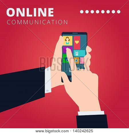 Online communication vector concept design with hands hold smartphone and click on the touchscreen