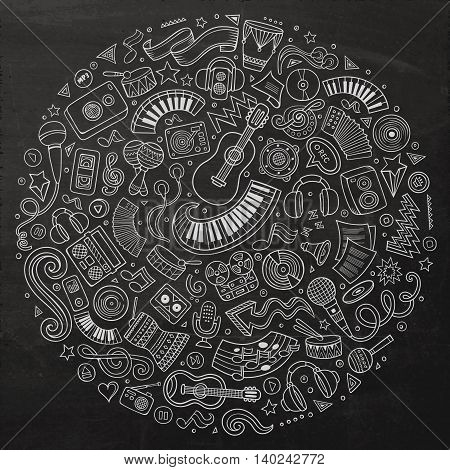 Chalkboard vector hand drawn set of Musical cartoon doodle objects, symbols and items. Round composition