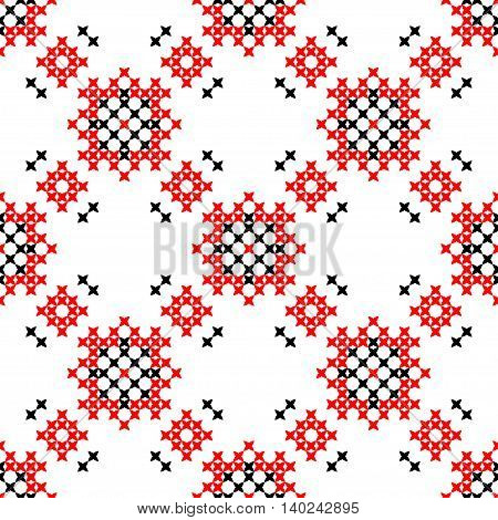 Seamless embroidered texture of abstract flat red and black patterns cross-stitch ornament for cloth