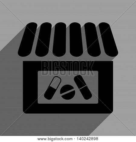 Drugstore long shadow vector icon. Style is a flat drugstore black iconic symbol on a gray square background with longshadow.
