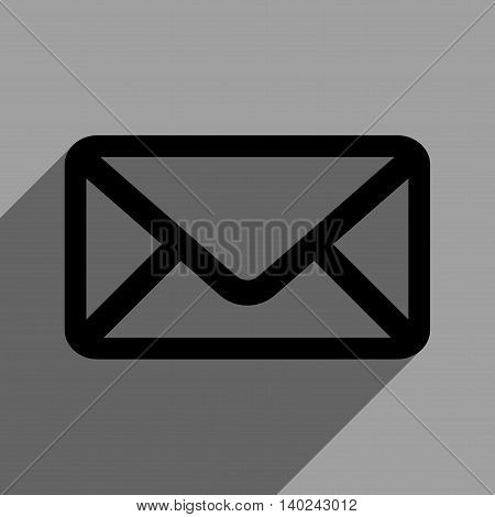 Envelope long shadow vector icon. Style is a flat envelope black iconic symbol on a gray square background with longshadow.